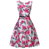 Polyester Princess One-piece Dress with belt printed different color and pattern for choice Sold By PC
