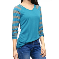 Polyester Women Long Sleeve T-shirt patchwork striped Sold By PC