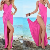 Polyester front slit Beach Dress backless ruffles Solid Sold By PC