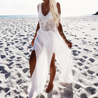 Chiffon & Polyester Beach Dress deep V & side slit & hollow & transparent patchwork Solid white Size:Free Size Sold By PC