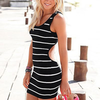 Spandex & Cotton Step Skirt One-piece Dress backless printed striped white and black Sold By PC