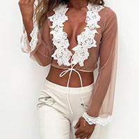 Gauze Crop Top Long Sleeve Nightclub Top transparent with Fleece embroidered patchwork pink Sold By PC