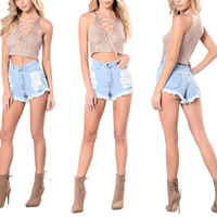 Cotton Crop Top & Lace Up Sleeveless Nightclub Top deep V loose knitted Solid Apricot Sold By PC