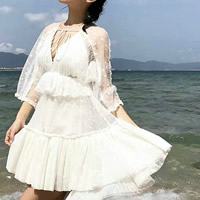 Lace & Polyester Lace Up & Asymmetrical Beach Dress mid-long style transparent patchwork Solid white Sold By PC