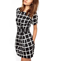 Chiffon & Spandex & Polyester A-line & High Waist One-piece Dress slimming printed plaid white and black Sold By PC