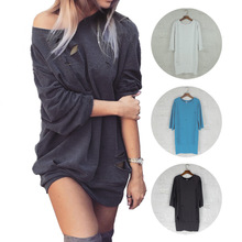 Cotton Women Sweatshirts loose & hollow with Line frayed Solid Sold By PC