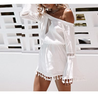 Polyester Miracle Tassel One-piece Dress backless off shoulder & hollow with Polyester patchwork Solid white Sold By PC
