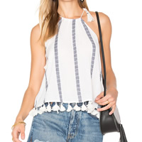 Polyester Asymmetrical & Miracle Tassel Camisole backless printed striped white Sold By PC