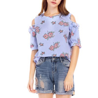 Mixed Fabric & Cotton Women Short Sleeve Blouses off shoulder & hollow printed floral blue Sold By PC