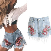Cotton Denim Miracle Tassel Shorts embroidered floral light blue Sold By PC