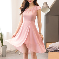 Chiffon A-line & Asymmetrical One-piece Dress plain dyed Solid pink Sold By PC
