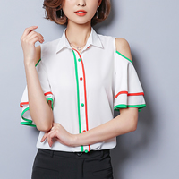 Mixed Fabric & Cotton Women Five Point Sleeve Shirt slimming off shoulder patchwork striped white Sold By PC