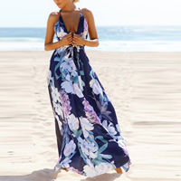Polyester Beach Dress deep V & backless floor-length printed floral Navy Blue Sold By PC