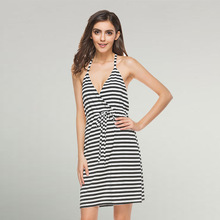 Chiffon & Polyester High Waist Beach Dress deep V & backless patchwork striped white and black Sold By PC