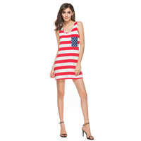 Chiffon & Polyester High Waist One-piece Dress backless printed striped red and white Sold By PC