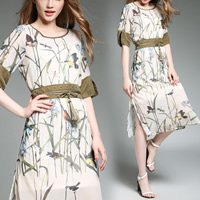 Acetate A-line One-piece Dress mid-long style & slimming & side slit loose & mid-calf printed bird pattern beige Sold By PC