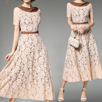 Lace & Polyester A-line & High Waist One-piece Dress mid-long style & slimming hollow & mid-calf patchwork floral Apricot Sold By PC