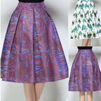 Polyester Princess & A-line & High Waist Skirt mid-long style printed different color and pattern for choice Sold By PC