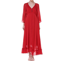 Chiffon Beach Dress slimming mid-calf plain dyed Solid red Sold By PC
