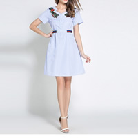 Polyester & Cotton One-piece Dress slimming embroider floral blue Sold By PC