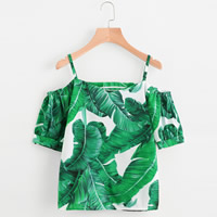Polyester Women Short Sleeve Blouses backless & off shoulder printed leaf pattern green Size:Free Size Sold By PC