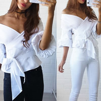 Chiffon Women Three Quarter Sleeve Blouses backless off shoulder & loose plain dyed Solid white Sold By PC