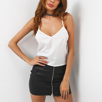 Polyester Lace Up Camisole slimming & backless patchwork Solid Sold By PC