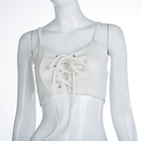 Polyester Crop Top & Lace Up Sleeveless Nightclub Top backless patchwork Solid white Sold By PC