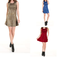 Polyester Pleated One-piece Dress gold foil print fish scale pattern Sold By PC