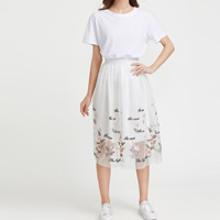 Gauze Skirt transparent & mid-calf embroidered floral white Size:Free Size Sold By PC