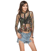 Lace & Polyester Women Sun Protection Clothing loose & transparent embroidered floral black Sold By PC
