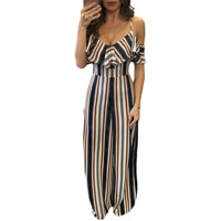 Spandex & Polyester High Waist Long Jumpsuit without belt & backless off shoulder & skinny printed striped white and black Sold By PC