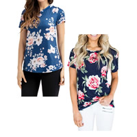 Spandex & Polyester Women Short Sleeve T-Shirts printed floral Sold By PC
