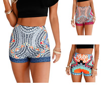 Spandex & Polyester High Waist Shorts without belt skinny printed different color and pattern for choice Sold By PC