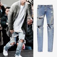 Denim Men Jeans frayed Solid light blue Sold By PC