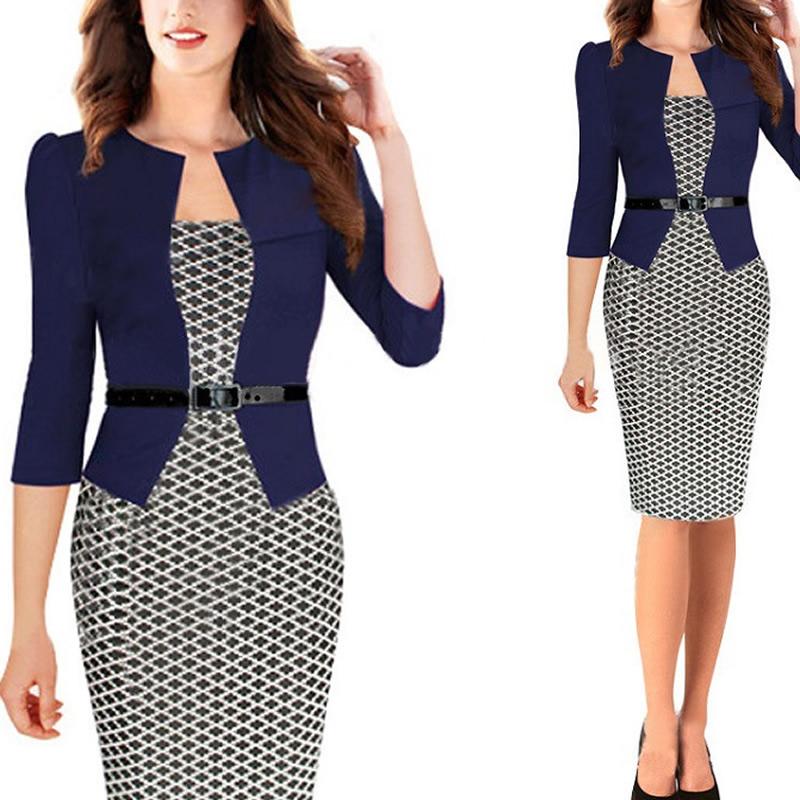 Polyester Cotton Women Business Dress Suit False Two Piece