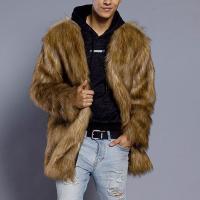 Fur Men Coat mid-long style plain dyed Solid khaki Sold By PC