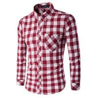Polyester & Cotton Men Long Sleeve Casual Shirts & regular printed plaid PC