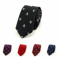 Polyester Arrow Shape Tie jacquard skull pattern Sold By Strand