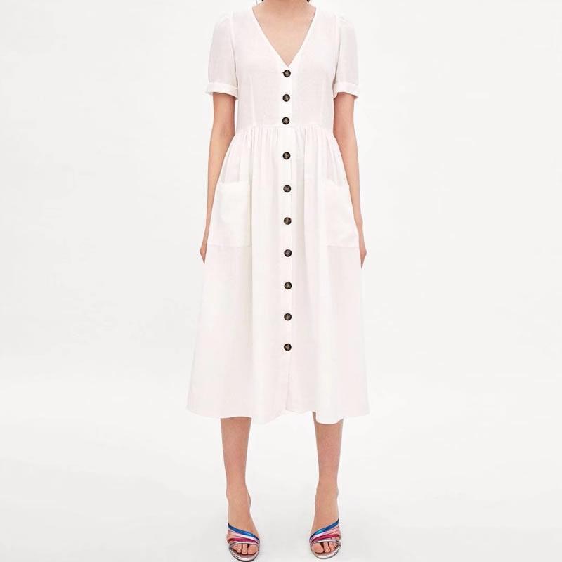 Cotton Fabric Amp Linen Slim One Piece Dress Deep V Amp Loose
