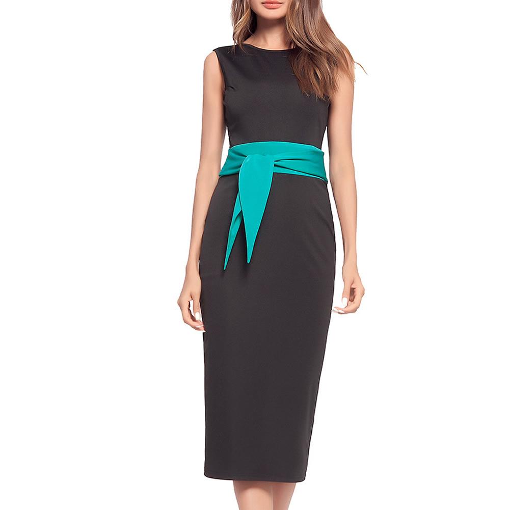 Polyester Cotton High Waist Women Business Dress Suit Contrast