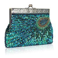 Polyester Clutch Bag,  Winzige Glasperlen & Pailletten, Pfauschwanzmuster, mehr Farben zur Auswahl,  Stück