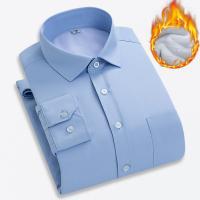 Cotton Plus Size Men Long Sleeve Casual Shirts  & thick fleece striped PC