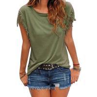 Algodón Mujeres Camisetas de manga corta, labor de retazos, Sólido, más colores para elegir,  trozo