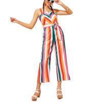 Polyester Knöchel-Länge Jumpsuit, Gedruckt, Gestreift, mehrfarbig,  Stück