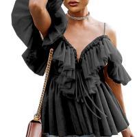 Gauze Slim Women Short Sleeve Blouses backless & off shoulder Solid Sold By PC