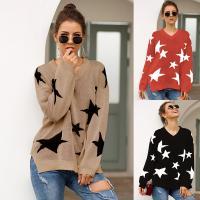 Cotton Women Sweater & loose printed star pattern PC