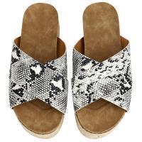 Jute Flange Women Sandals hardwearing & breathable snakeskin pattern white PC