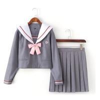 Algodón Traje de marinero mujer, falda & parte superior, gris,  ordenador personal