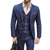Spandex Slim & Plus Size Men Suit & three piece Polyester vest & Pants & coat patchwork plaid Set